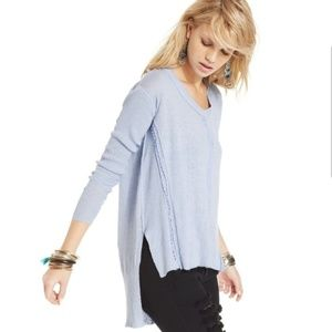 Free People Tunic Long Sleeve Blue Sweater Highlow